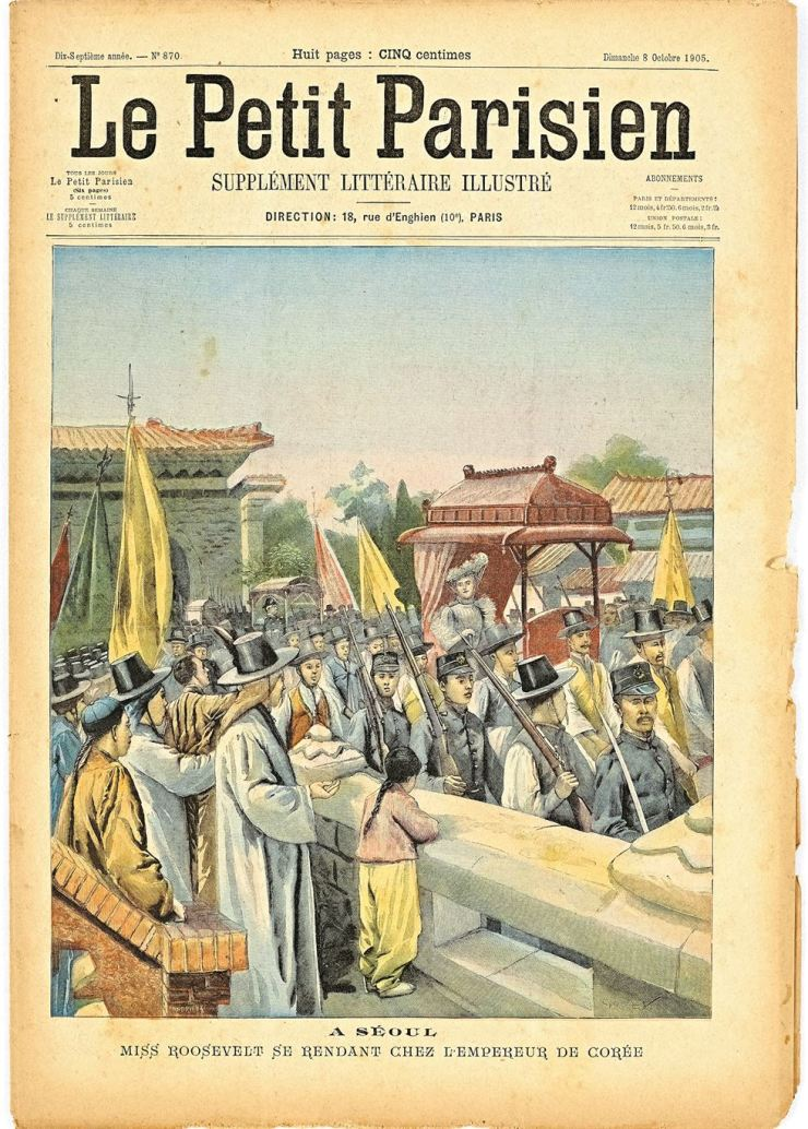 Miss Roosevelt visiting the Emperor of Korea in Seoul in the Oct. 18, 1905 issue of Le Petit Parisien / Courtesy of National Museum of Korea