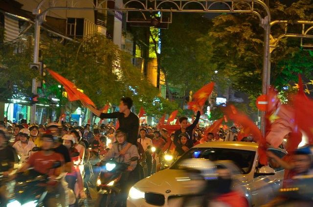 A massive crowd in Hanoi celebrates Vietnam's historic second place at the U23 Asian Cup, Saturday. / Courtesy of Dinh Xuan Hoa