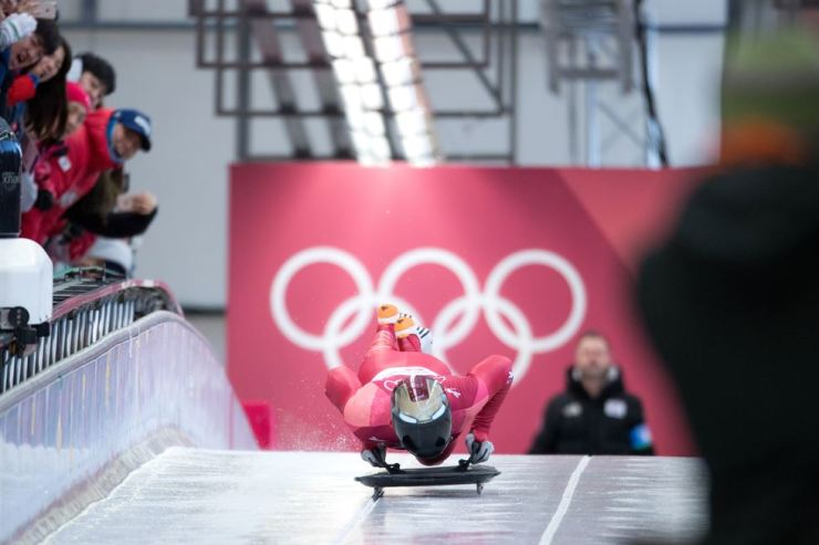 Korea's Yun Sung-bin starts his PyeongChang Winter Games men's skeleton heat 3 race at the Olympic Sliding Center, Friday. / Korea Times photo by Shim Hyun-chul
