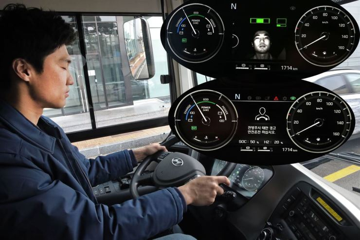 A system monitoring driver alertness warns of the driver's negligence in keeping his eyes forward while monitoring his facial expressions in this file photo. Hyundai Motor's fuel-cell electric buses driven at the Olympic venues feature the system. / Courtesy of Hyundai Motor