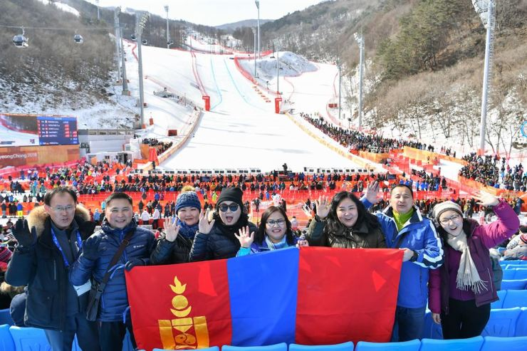 Dignitaries from Mongolia visit Jeongseon Alpine Center in Gangwon Province, Feb. 21, to watch the ladies' downhill event at the PyeongChang Winter Olympics. / Courtesy of Jeongseon County Office