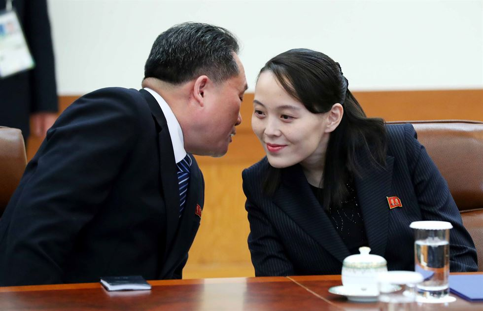 Kim Yo-jong, sister of North Korea's leader Kim Jong-un, has freckles on her face in a photo taken during her meeting with President Moon Jae-in at Cheong Wa Dae, Saturday. / Yonhap
