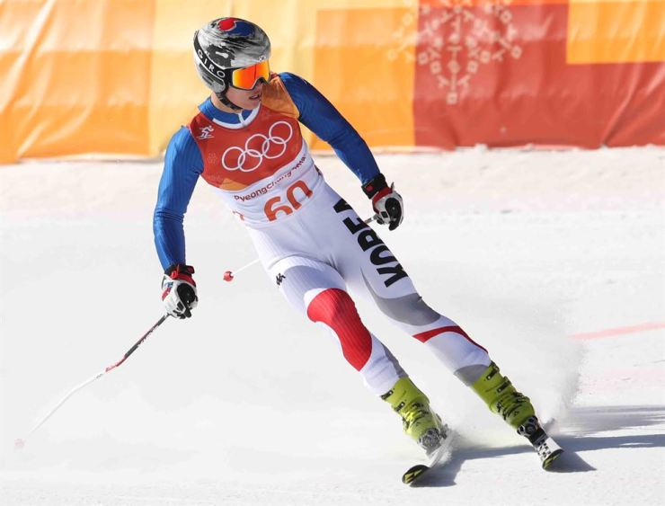 Kim Dong-woo finishes his race in the men's super-G at Jeongseon Alpine Center, Friday. / Yonhap