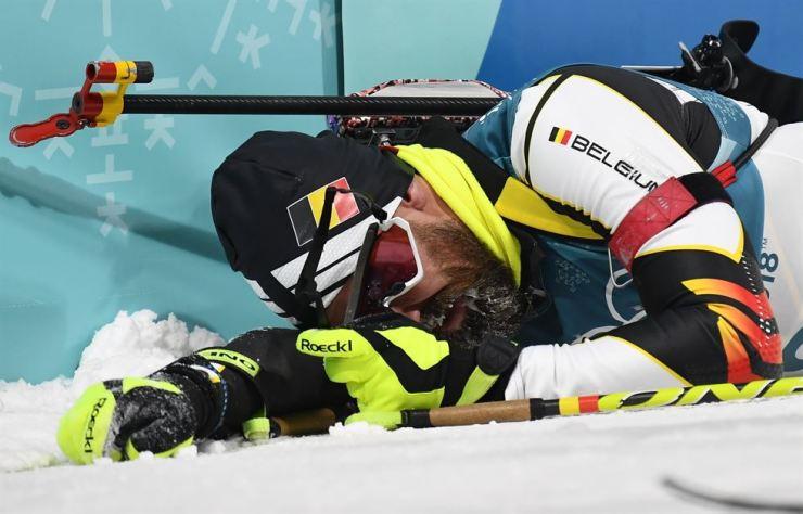 Belgium's Michael Roesch reacts after his PyeongChang Olympics men's 12.5km pursuit final at Alpensia Biathlon Centre, Monday. / Reuters-Yonhap