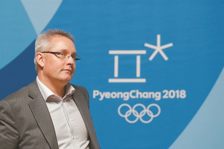 Matthieu Reeb, CAS Secretary General, at a press conference on Feb. 1, after speaking about Russian athletes who challenged decisions by the Disciplinary Commission of the International Olympic Committee before the 2018 Winter Olympics in PyeongChang. / AP-Yonhap