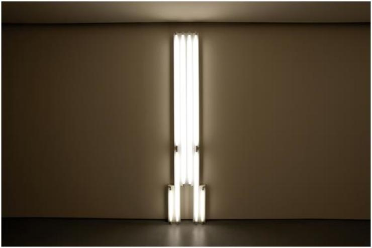 Lotte Museum of Art is hosting 'Dan Flavin, Light: 1963-1974' until April 8. Shown is 'Monument for V' (1974) by Flavin. /Courtesy of Lotte Museum of Art
