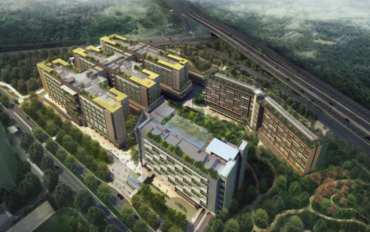 An aerial view of the planned Woodlands Health Campus in Singapore / Courtesy of Ssangyong E&C