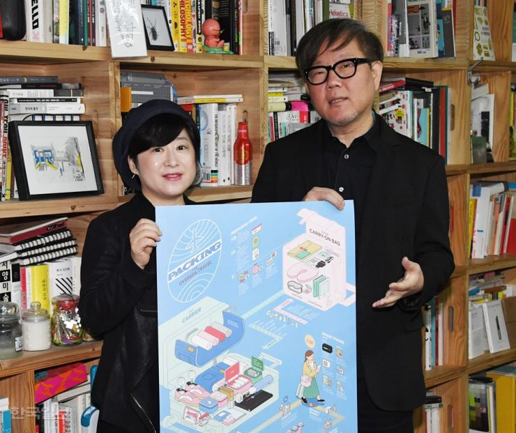 Jang Sung-hwan, right, publisher of Street H magazine, and Jeong Ji-yeon, chief editor, hold a poster, a supplement of the magazine which won a medal in the Malofiej International Infographics Awards, at their office in Hongdae, Friday. / Korea Times photo by Oh Dae-geun