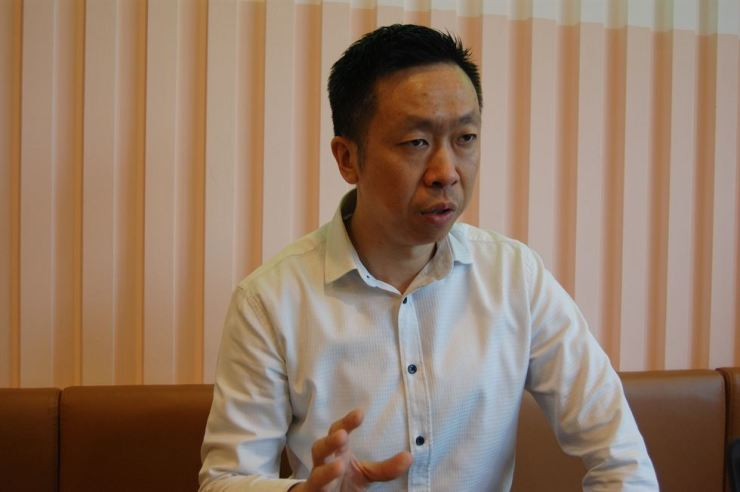 Asian Innovations Group CEO and co-founder Andy Tian responds to a question in a recent interview held at the group's head office in Seocho-gu, southern Seoul. Courtesy of Access Communications and Consulting