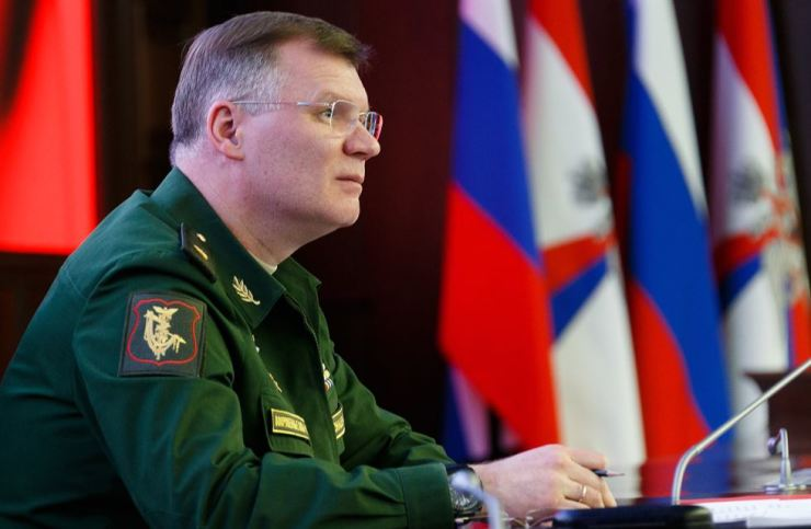The Chief of the Directorate of Media Service and Information of the Ministry of Defence of the Russian Federation, Major-General Igor Konashenkov, gives a press briefing on the situation in Syria. / TASS-Yonhap