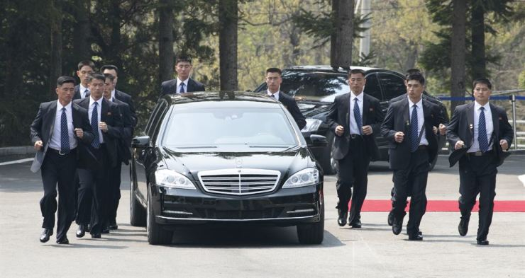 North Korean leader Kim Jong-un briefly returns to the North after the first round of the inter-Korean summit held at the south Panmunjeom, Friday morning. / Yonhap