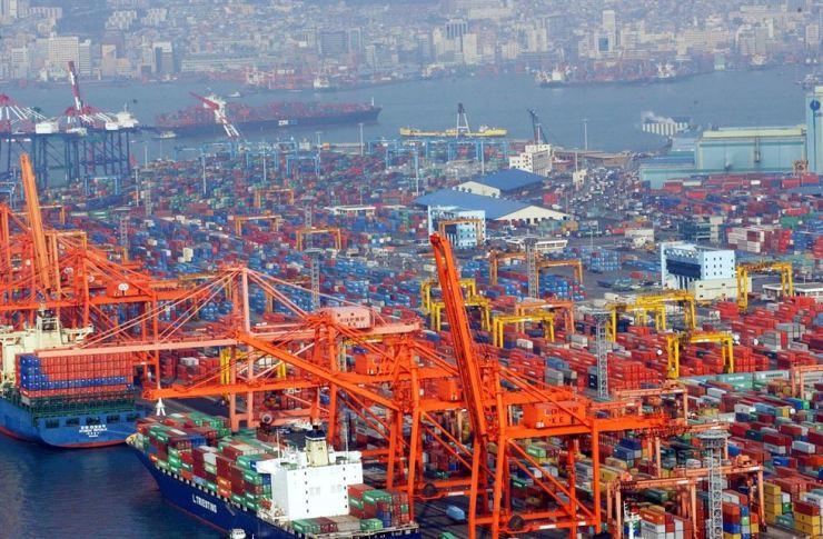 Sinseondae container terminal and Gamman terminal in Busan. / Korea Times file