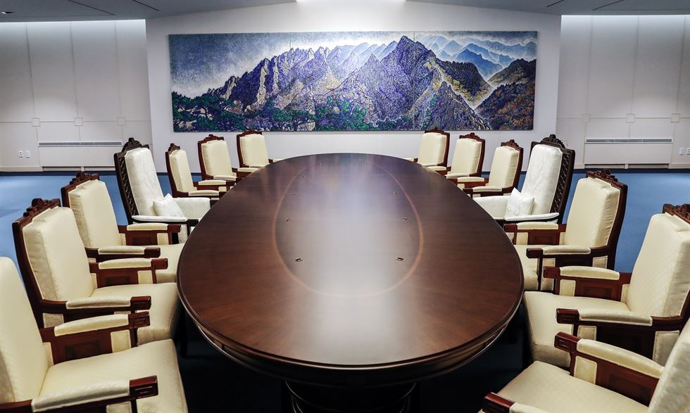 Image result for north and south korea meeting room