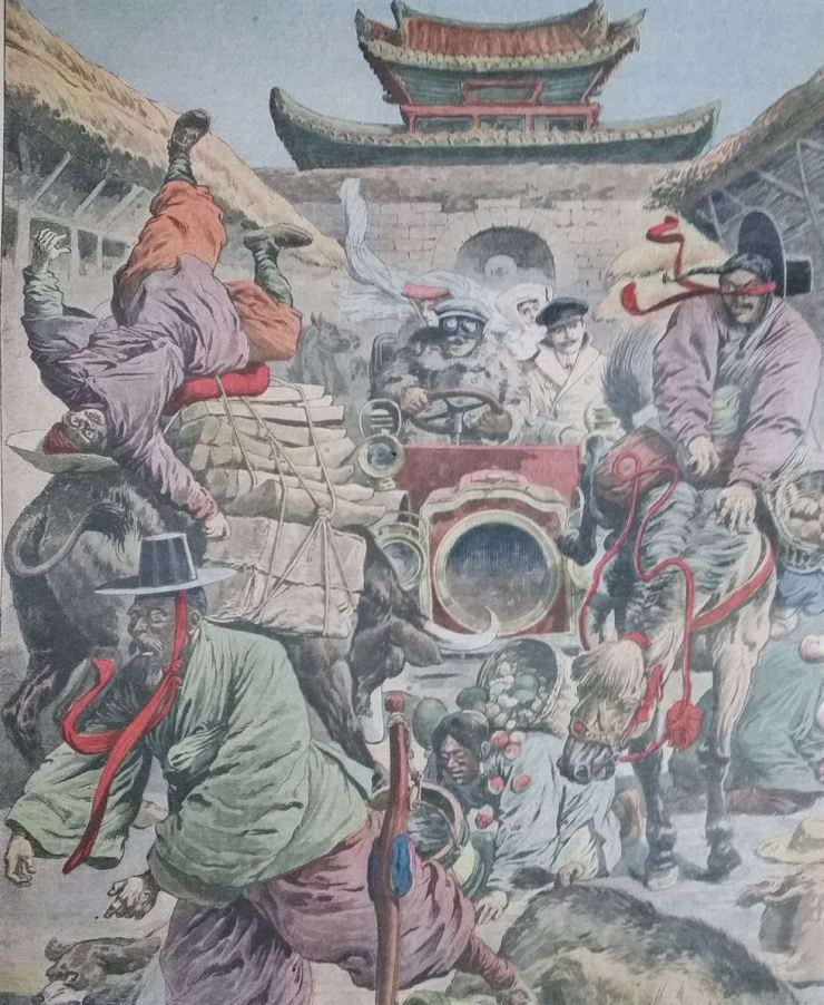 Petite Journal ran this image on March 7, 1909, showing Thomas Koen driving the first car in Korea. Courtesy of Brother Anthony