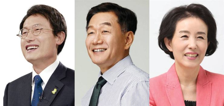 Three candidates run for Seoul superintendent of education. From left Cho Hee-yeon, Cho Young-dal and Park Sun-young.