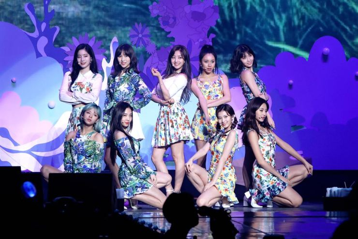 Members of TWICE perform at a concert titled 'TWICELAND ZONE 2: Fantasy Park' held at Jamsil Indoor Stadium in Seoul, Sunday. / Courtesy of JYP Entertainment