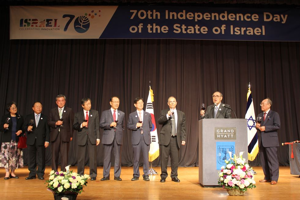Israeli Ambassador to Korea Chaim Choshen delivers a speech at the ceremony marking Israel's 70th anniversary at Grand Hyatt in Seoul on May. 2. / Korea Times photo by Yi Whan-woo