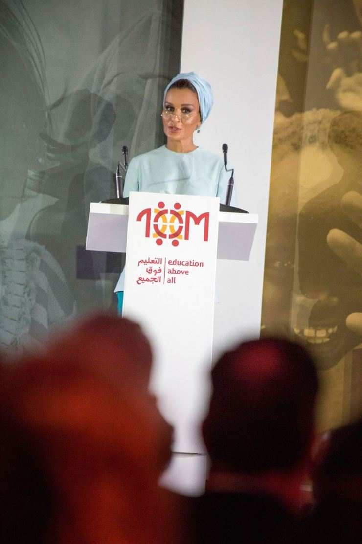 Sheikha Moza bint Nasser speaks during an Education Above All event at the New York Public Library, April 28. / Courtesy of Education Above All