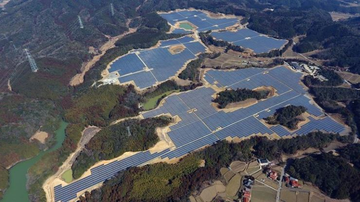 Seen is a solar power plant in Mine, Yamaguchi Prefecture, Japan. / Courtesy of LG CNS