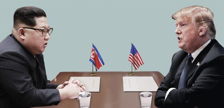 North Korean leader Kim Jong-un, left, and U.S. President Donald Trump / Graphic by Cho Sang-won