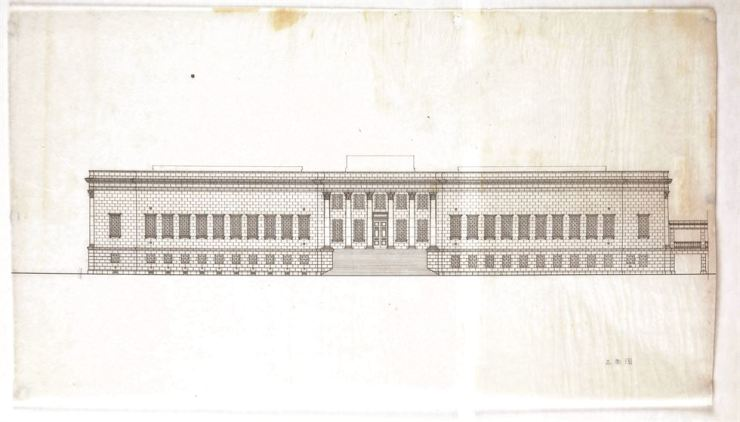 A front view of the floor plan of MMCA Deoksugung circa 1936-37, then named the Yi Royal Family Museum of Art / Courtesy of MMCA