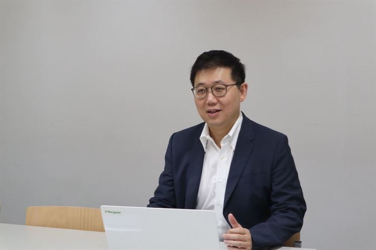 Kevin Lee, co-CEO and co-founder of IT security firm Keypair, speaks during an interview with The Korea Times at the firm's office in Gangnam, southern Seoul, Wednesday. / Courtesy of Keypair
