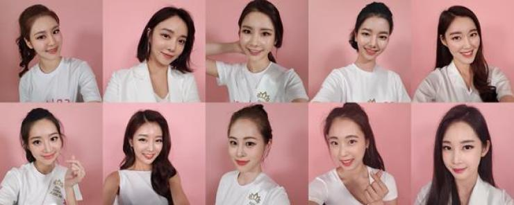 Clockwise from top left are Miss Seoul Jung Doo-ran, Miss North Jeolla Province Yoon I-ji, Miss China Kim Hee-ran, Miss Busan·Ulsan Son Hee-ju, Miss North Gyeongsang Province Ju Mi-so, Miss China Kim Seo-cheng, Miss Philippines Kuk Sun-young, Miss Kangwon Province Kim Dan-bi, Miss South Gyeongsang Province Jung Hee-ji, and Miss North Chungcheng Province Kim Hyun-ah. Courtesy of Hankook Ilbo