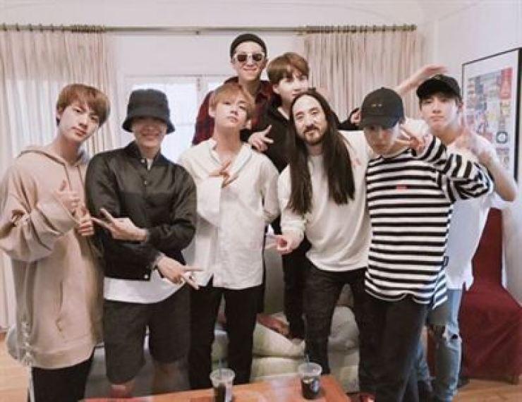 BTS and DJ Steve Aoki.