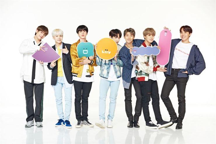 K-pop boy band BTS promotes KB Kookmin Bank's mobile banking platform Liiv in this promotional image. / Courtesy of KB Kookmin Bank