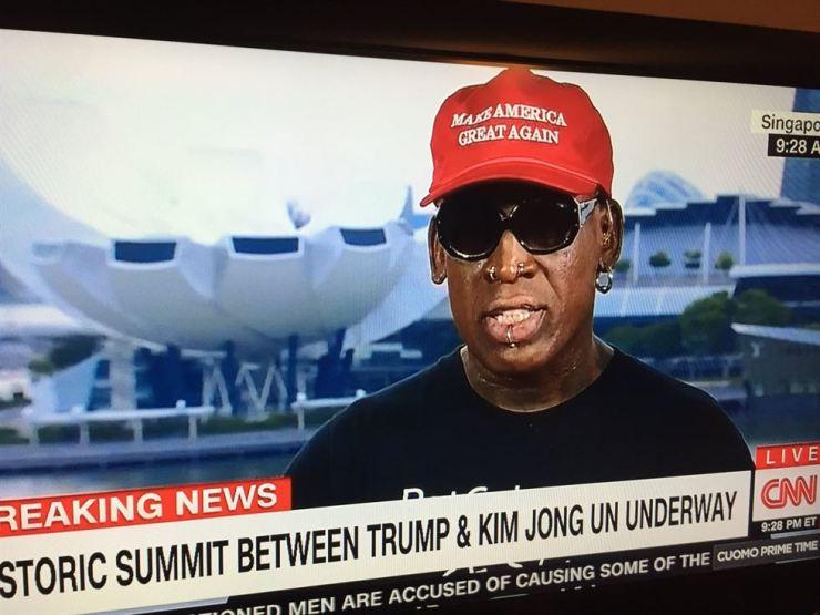 Former NBA player Dennis Rodman gets emotional during an interview with CNN on June 12. Screen capture from CNN