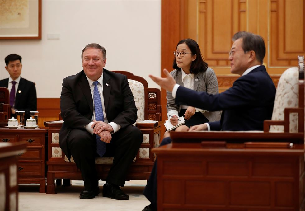 U.S. Secretary of State Mike Pompeo, right, attends a joint news conference with South Korean Foreign Minister Kang Kyung-wha, center, and Japanese Foreign Minister Taro Kono, left, following their meeting at Foreign Ministry in Seoul, South Korea, Thursday. AP-Yonhap
