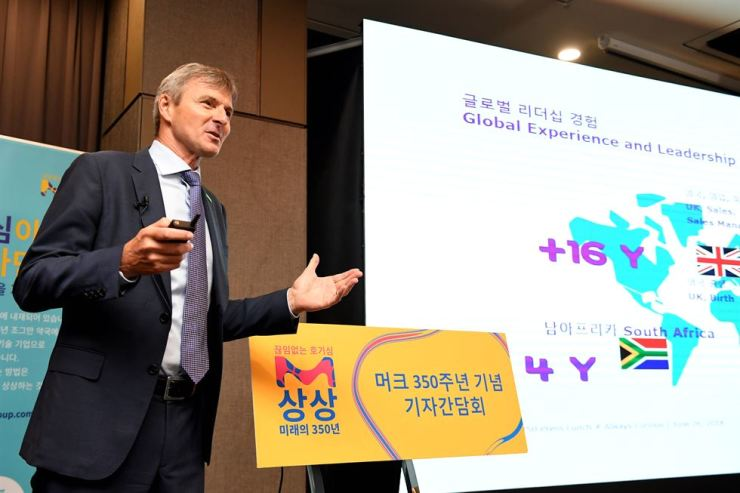 Glenn Young, managing director and representative of Merck Korea, speaks during a press conference at the Courtyard by Marriott Seoul Namdaemun Hotel in Seoul, Tuesday. / Courtesy of Merck Korea