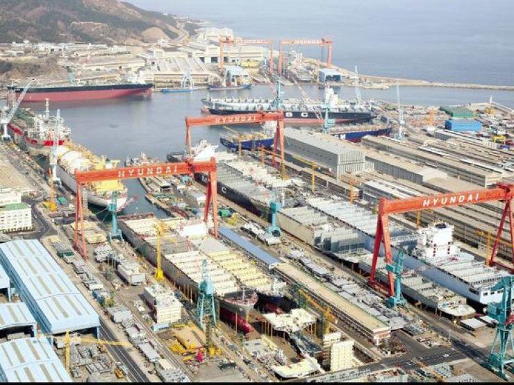Hyundai Heavy Industries' shipyard in Ulsan.