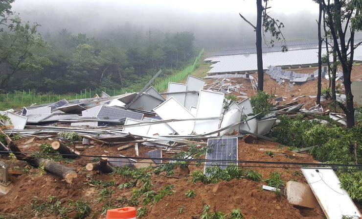 Solar panels are scattered with trees and earth following a landslide in Cheongdo County in North Gyeongsang Province after rainfall, Tuesday. / Courtesy of Cheongdo County