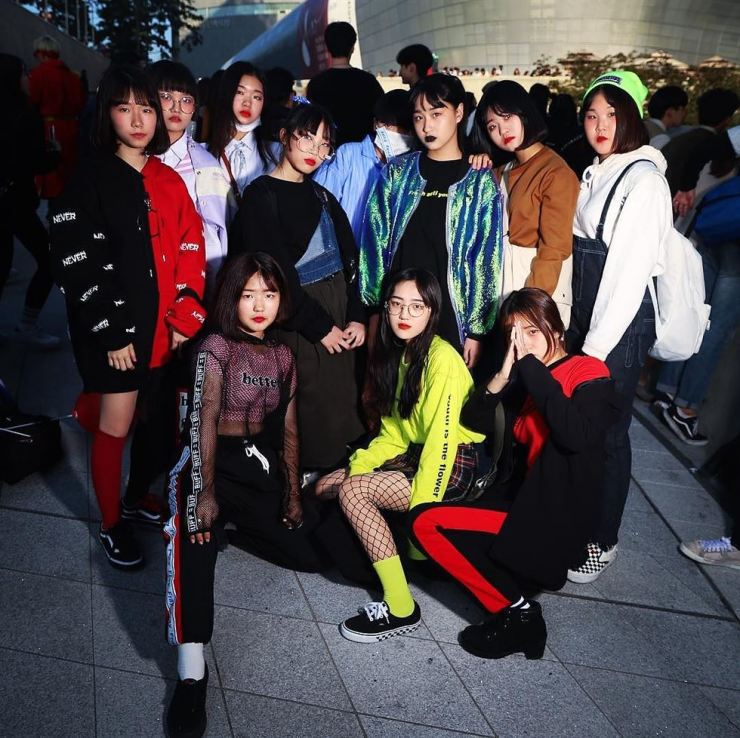 Mostly middle school street fashion stars pose for my camera at Seoul Fashion Week in October, 2017. Photo by Michael Hurt