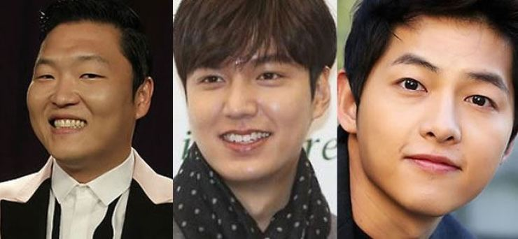 From left are Korean singer Psy, actor Lee Min-ho and Song Joong-ki. Yonhap