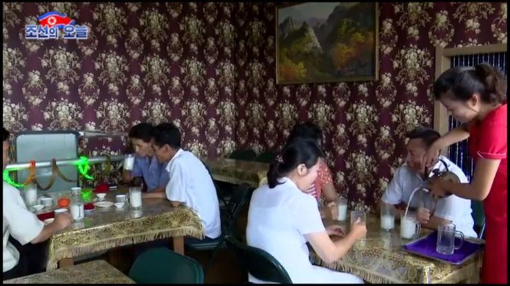 This footage of video shows many people in North Korean capital city Pyongyang enjoying Korean traditional rice wine, 'makgeolli.' A restaurant called Cheongyang Makgeolli House is one of the hottest place. Screenshot from DPRK Today video