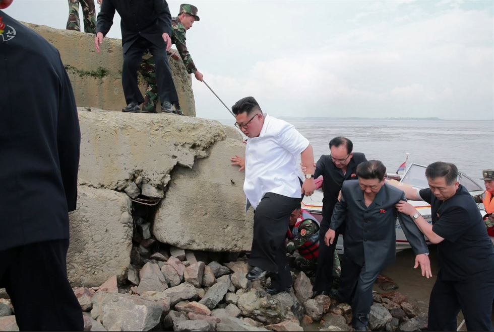 Kim Jong-un is a demi-god in North Korea so few would be willing to point out that the seat of his trousers has a big smudge of dirt across the bottom during his recent tour of a textile factory in Sinuiju on the border with China. Or was it intentional to show Kim has worked hard for the people? Kim reportedly upbraided factory workers for poor work performance. This footage is from the North Korean Central TV. Yonhap