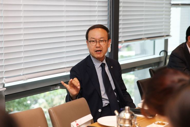 Noh Kyoo-sung, chairman of Korea Productivity Center (KPC) talks to reporters about KPC's business plans in Seoul, Thursday. / Courtesy of KPC