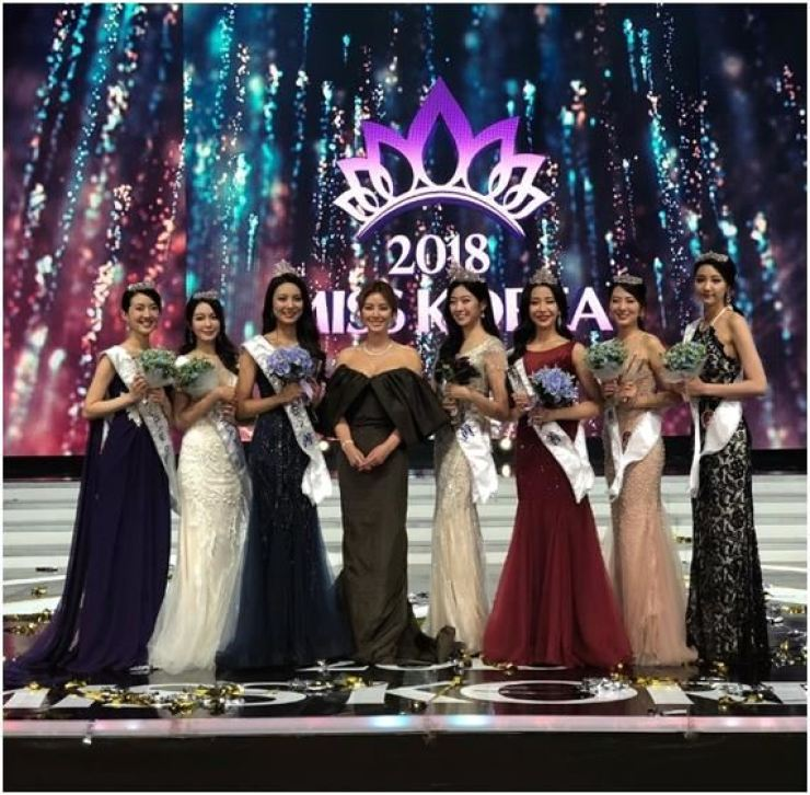 The fourth from the left is Kim Sung-ryung, with 2018 Miss Korea Pageant contestants. Captured from Instagram