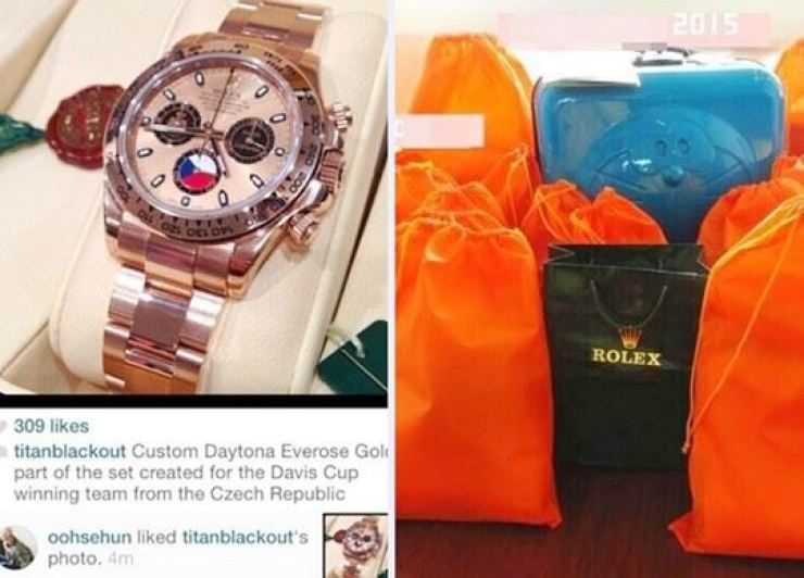 After K-pop boy band EXO member Sehun liked a photo of a luxury watch, a fan gave the timepiece to him as a present. Capture from Instagram