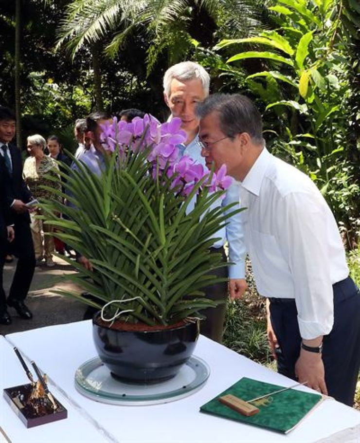 President Moon Jae-in smells the scent of an orchid which was named after him at the Singapore Botanic Gardens in Singapore, Thursday. / Korea Times photo by Koh Young-gwon