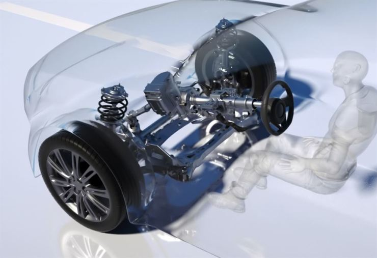 A computer graphic image of the new steering system developed by Hyundai Mobis for self-driving cars / Courtesy of Hyundai Mobis
