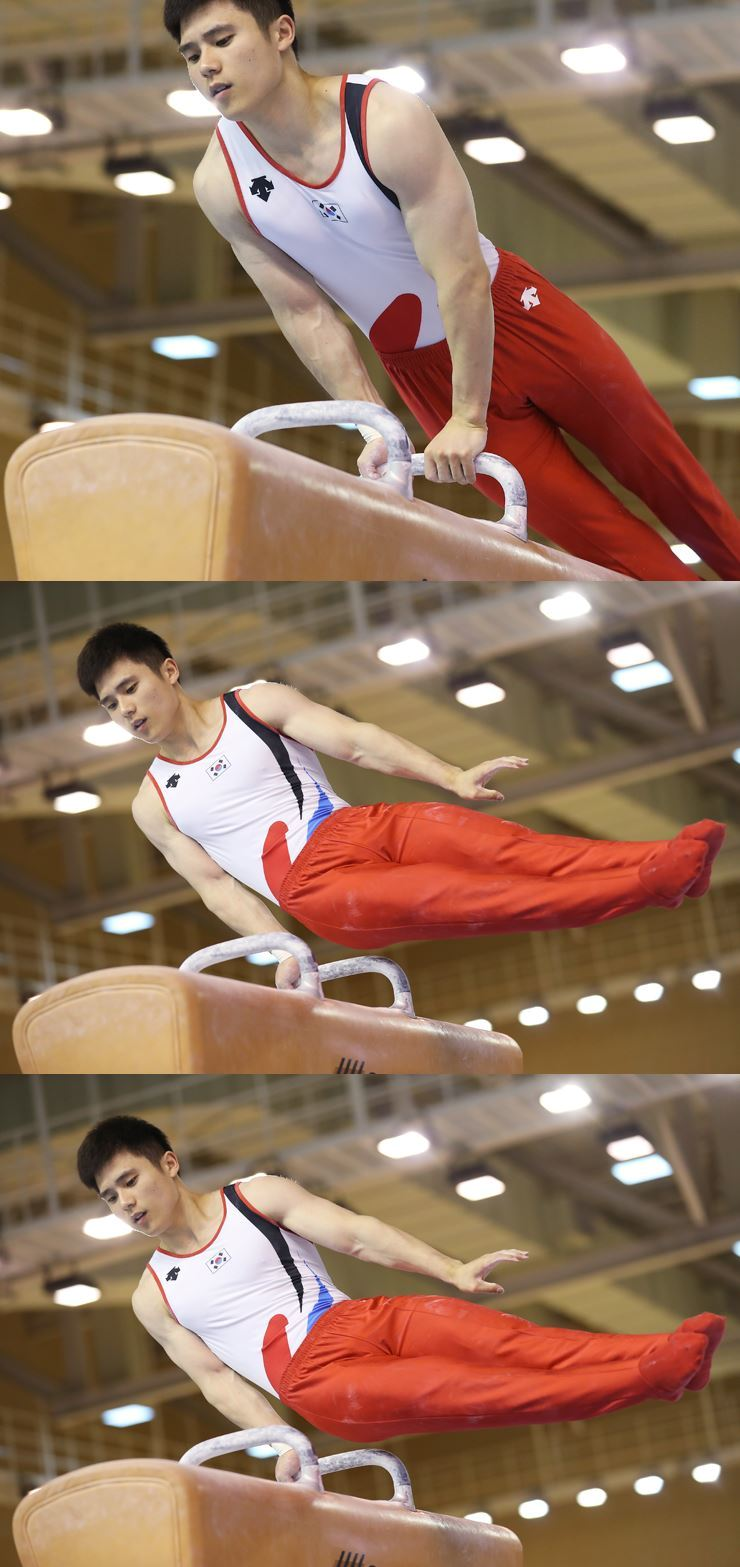 Gymnast Kim Han-sol practices at Jincheon National Training Center, Wednesday. / Yonhap
