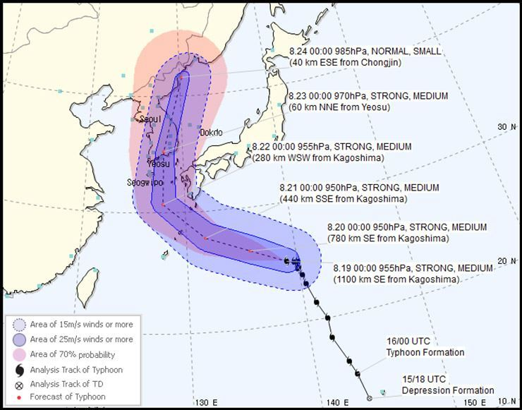 Typhoon Soulik's path. Captured from Korean Meteorological Administration as of 10:00 a.m. Aug. 19
