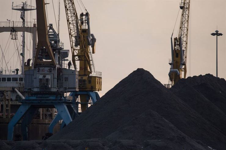 This file photo taken on November 21, 2017 shows a general view of North Korean coal piled up on a dockside at the port in Rason. AFP-Yonhap
