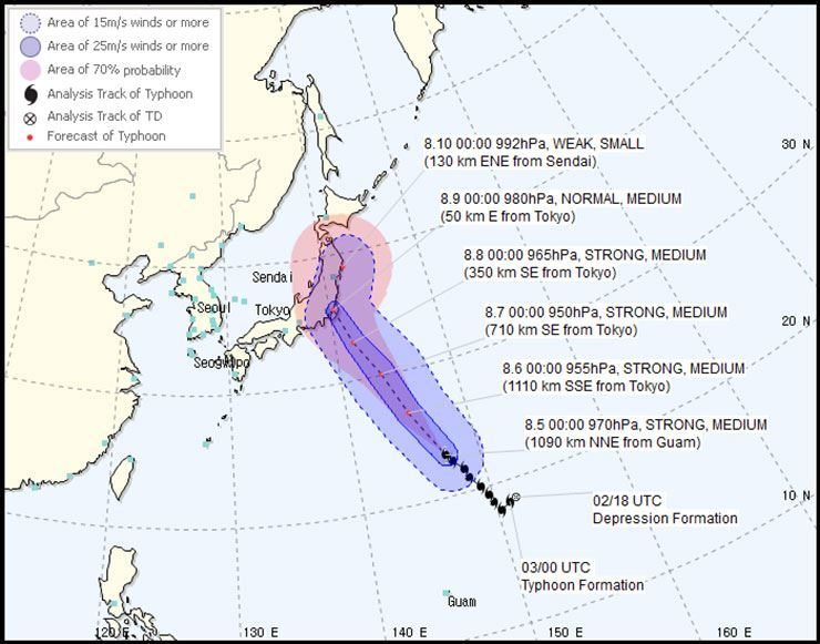 Typhoon Shan Shan is expected to make landfall near Tokyo on Thursday. / Courtesy of KMA