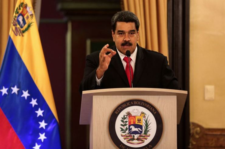 Venezuela's President Nicolas Maduro speaks during a nationally televised address from the Miraflores Palace in Caracas, capital of Venezuela, Aug. 4, 2018. Nicolas Maduro escaped unharmed from an attempted attack of explosive drones on Saturday. Xinhua-Yonhap