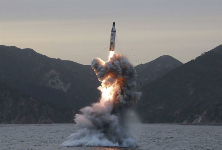 An undated file photo released by the North Korean Central News Agency (KCNA), the state news agency of North Korea, shows an 'underwater test-fire of strategic submarine ballistic missile' conducted at an undisclosed location in North Korea (reissued 06 March 2017). Korea Times file