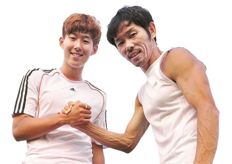 Son Heung-min, left and his father Son Woong-jung